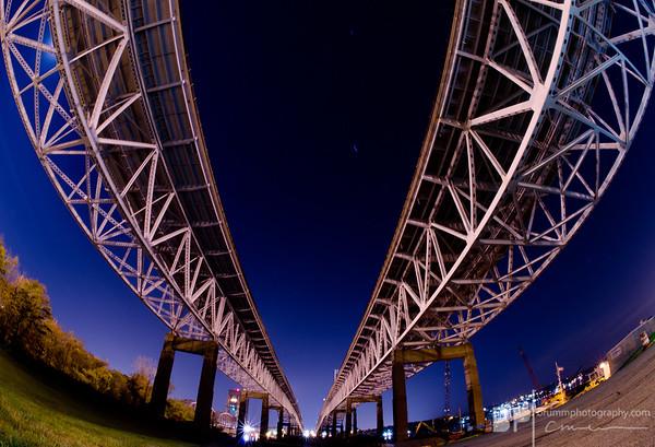 Under the bridge, downtown Groton, CT